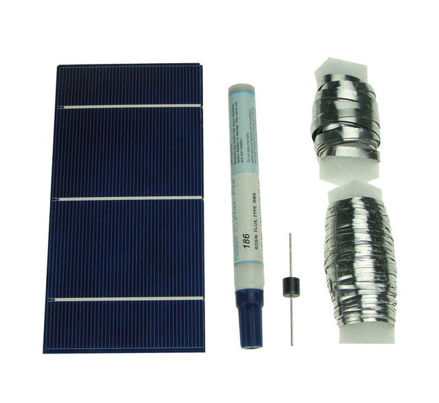 125pcs 3x6 Solar Cells Solar Panel with KIT Tabbing, Bus, Flux, Dieod for DIY