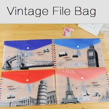 NEW Vintage Scenic world Multifunction A4 File bag/Document bag / file folder /Wholesale(China (Mainland))
