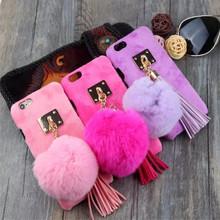 Soft Warm Velvet Wrap + Rabbit Hair Balls Tassel Trim phone Cases for Apple Iphone 6 6s plus Housing Hard back Coverring()