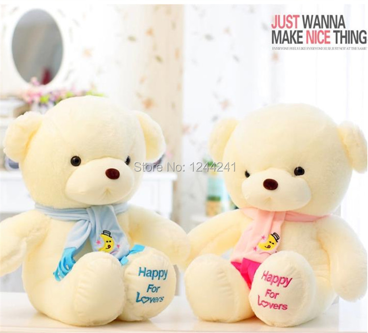 1pc Birthday Valentines Gift Scarf Baby Bear Wedding Plush Toy High Quality Teddy Bear Doll 2 Colors PINK BLUE free shipping(China (Mainland))