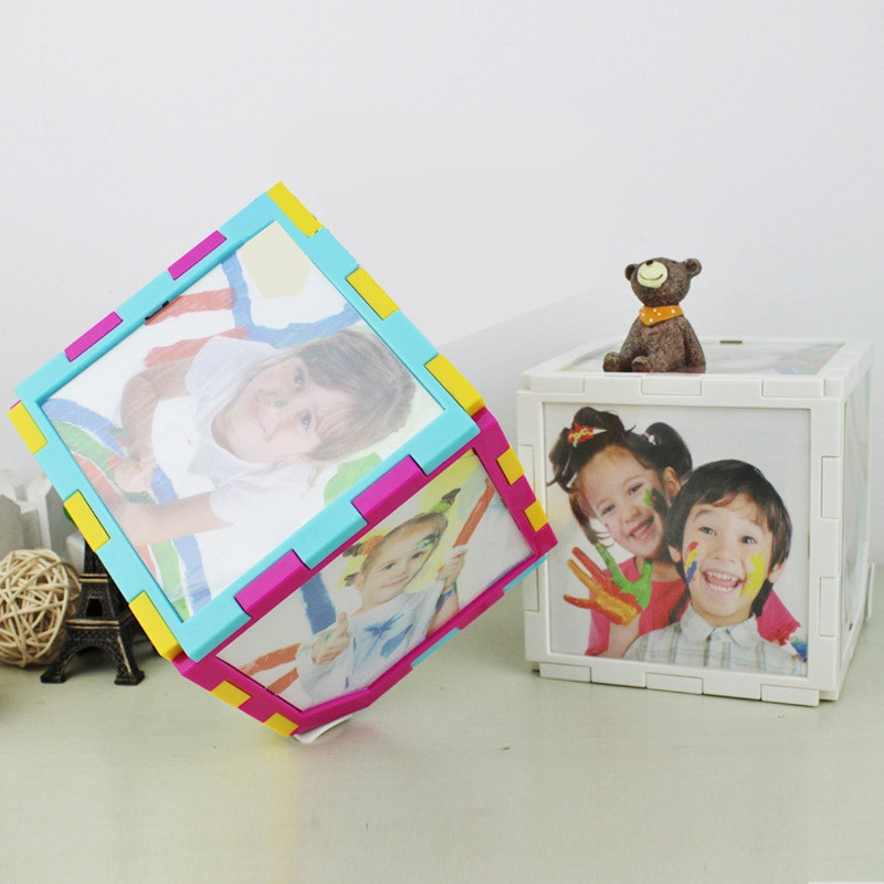 360 Degree Fashion Electric Automatic Rotation Photo Frame Magic Cube Revolving Multiples Picture Frame Dimensional 5 inch(China (Mainland))