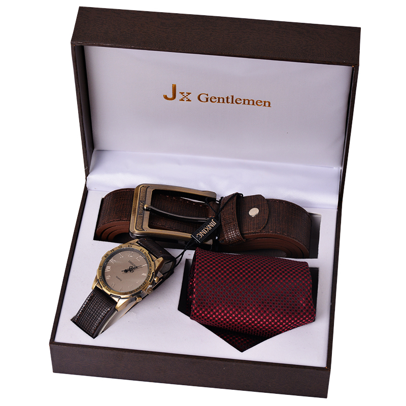 2016 Watch Set Men's Tie Suits Tie For Men Gift Box Leather Belt Mens Watches Luxury Brand Watches Military(China (Mainland))