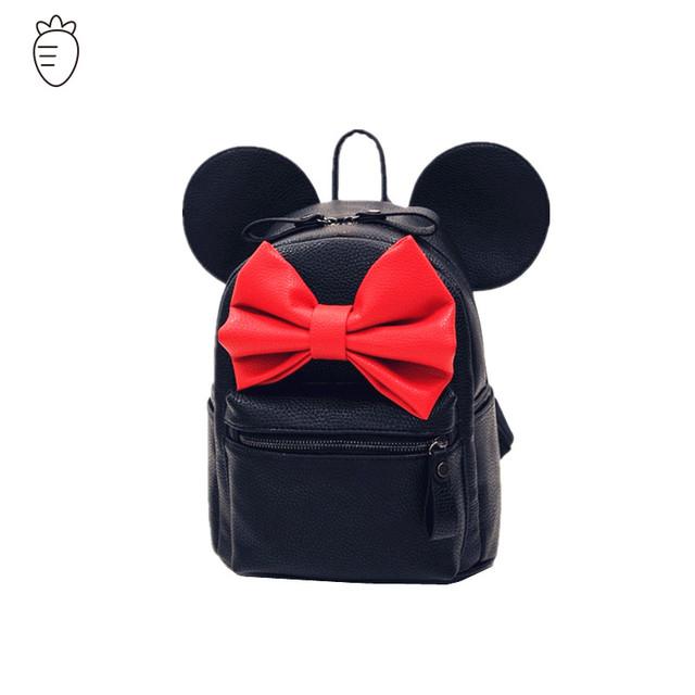Микки женщины рюкзак известный дизайнерский бренд лук цветок сумки на ремне мультфильм ...