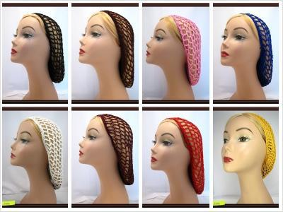 Free shipping Lot of 50 Long Soft Rayon Snood Hair Net Crocheted Hair Net Costume Hair Cover Cap(China (Mainland))