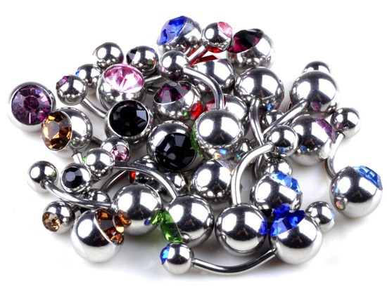 Wholesalee Lot 10pcs Steel Crystal Belly Button Navel Ring Body Piercing Jewelry(China (Mainland))