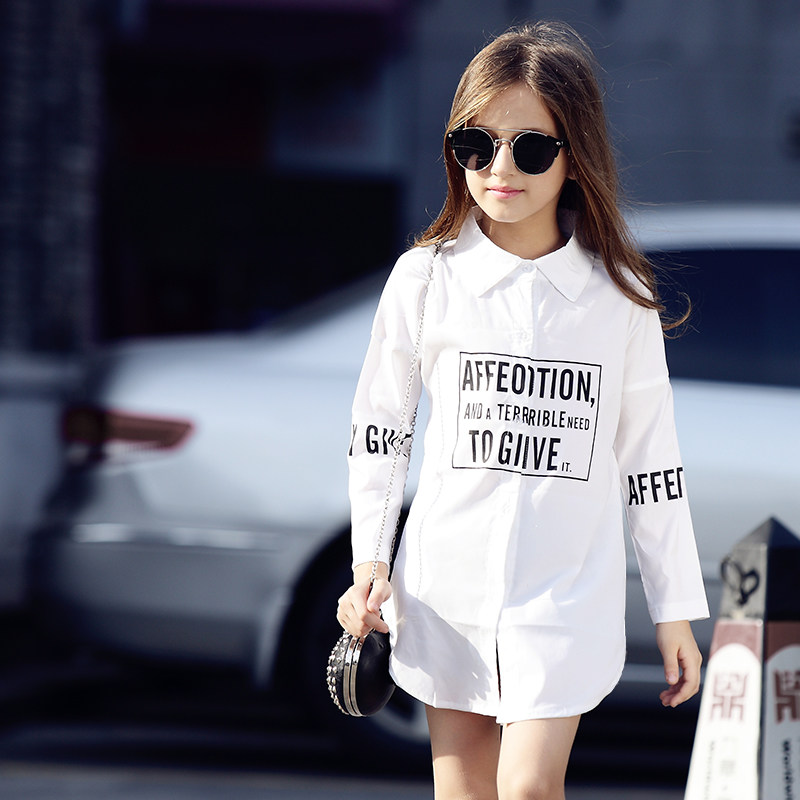 Girls White Blouse Black Blouse 100% Cotton Letter Shirt School Girl Blouse Long Sleeve Shirts Spring Fashion Shirt Kids Clothes