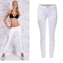 Buy 2016 Fashion Lace Women Jeans Plus Size Sexy Hollow Flower Hook Tight Feet Pencil Pant Skinny Plus Size Woman jeans 022 for $17.68 in AliExpress store