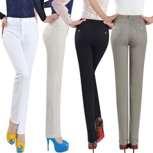 Spring and autumn quinquagenarian women's casual trousers middle-age pants elastic straight high waist skinny pants