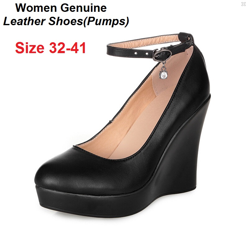 size 32 41 wedges pumps genuine leather shoes high