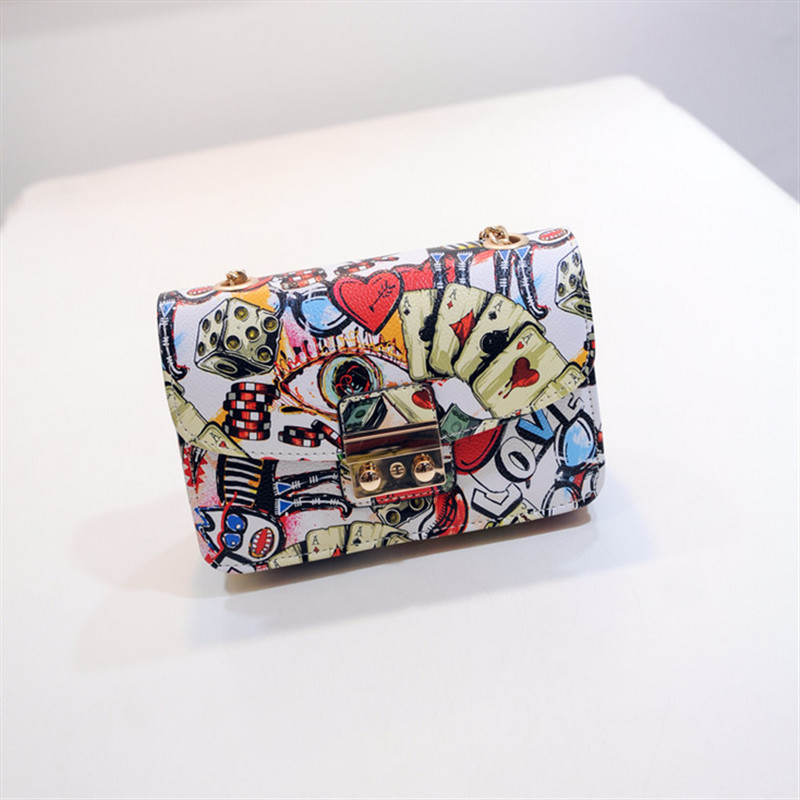 Fashion Graffiti Design 2016 new tide printing playing cards pattern ladies chain Messenger Bag women small shoulder bag(China (Mainland))