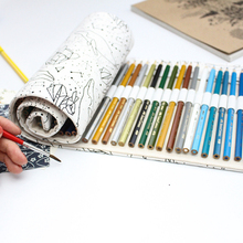 Buy 36/48/72 Holes Pencil Case Bag Portable Canvas Roll Gift Bag Students Stationary Storage Bag Painting School Supplies for $6.19 in AliExpress store
