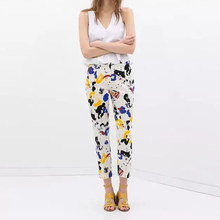 Fashion   Womens European Stylish Multicolor Scrawl Painted casual Slim Pants Trousers(China (Mainland))