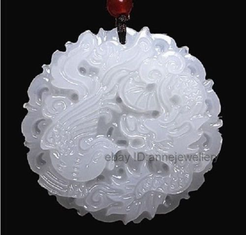 Hot selling free shipping******Beautiful Handmade Natural White Jade Carved Dragon Phoenix Pendant Necklace(China (Mainland))