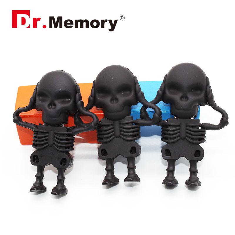 Dr.memory USB Flash Drive Skeleton Pen Drive 16g/8g/4g/2g skull Memory USB Stick free shipping pendrive cute usb2.0 usb flash(China (Mainland))
