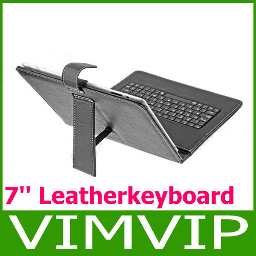 """New 7"""" Inch Black Leather Look Case + Mini USB Keyboard With Free Stylus & Stand Feature Free Shipping"""