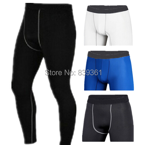 New 2014 Men's GYM Compression Gear Base Layer Tight Sport Full Long Pants Training Pants Fitness Body Building Plus Size S-XXL(China (Mainland))