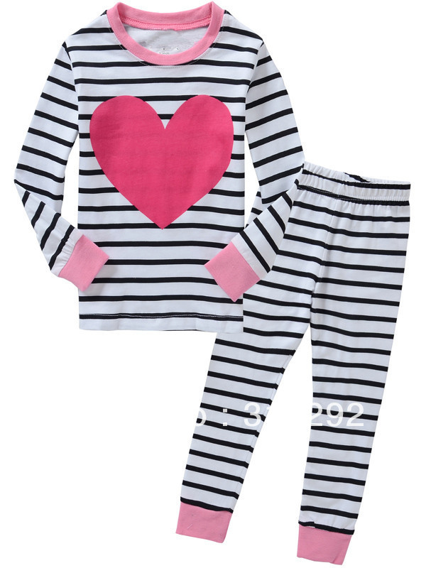 J-4031, Love, Children clothing sets, Pajamas,Sleepwear, 100% Cotton Jersey long sleeve sets for 2-7 year.