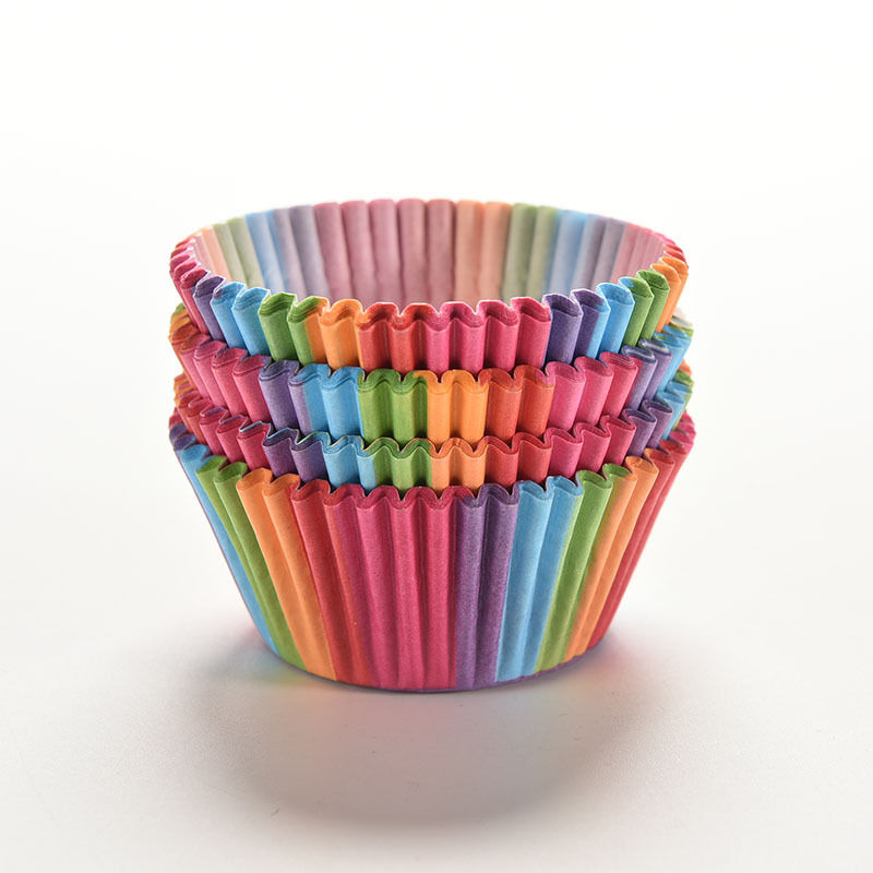 100 pcs cupcake liner baking cup cupcake paper muffin cases Cake box Cup tray cake mold decorating tools Rainbow color(China (Mainland))