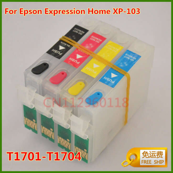 T1701-T1704 Refill Ink Cartridges For Epson Expression Home XP103 Printer Refillable Ink Cartridges With Chip Free Shipping<br><br>Aliexpress