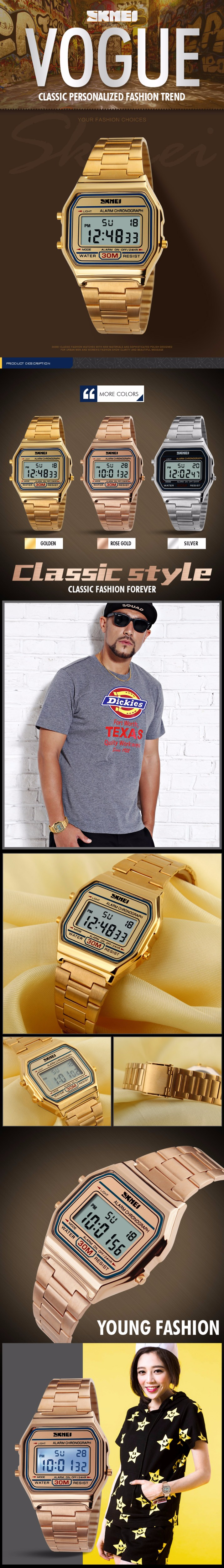 Часы мужчины классические цифровые часы стальной ленты водонепроницаемый спортивные мужские наручные часы