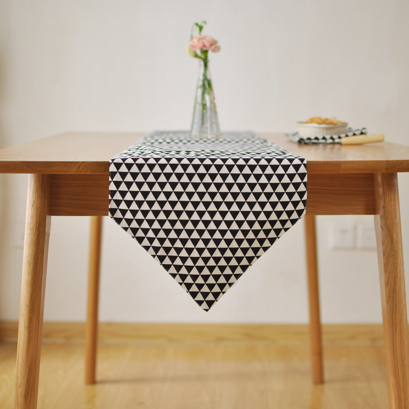 Simple Modern Geometry Table Runner Black Grey Dinner Coffee Tables Flag For Home Decoration(China (Mainland))