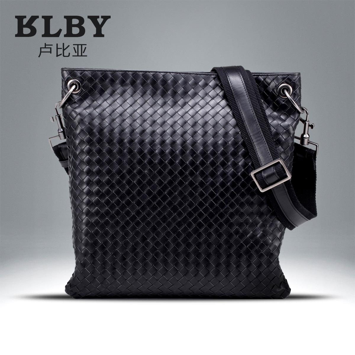 Rubbia woven shoulder bag leather man bag Messenger bag vertical section mens business casual calf leather satchel bag<br><br>Aliexpress
