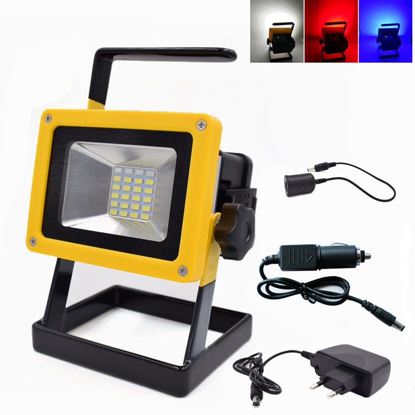 Portable 10W Floodlights Rechargeable IP65 Waterproof Outdoor LED Flood light emergency Lamp With Blue Red White Light +Charger(China (Mainland))