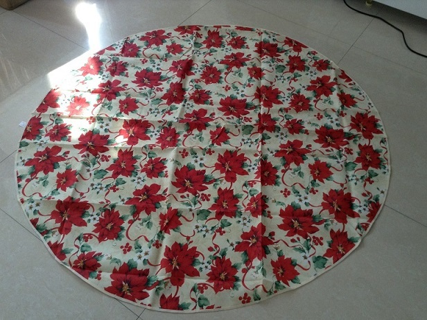 Red X'mas ribbon Table Cloth,150x150cm round X'mas table cover Home textile tablecloth water proof christmas(China (Mainland))