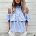 New Arrival 2016 Summer Style Women Off Shoulder Casual Blouse Shirts Blue WHITE Ruffles Short Blusas