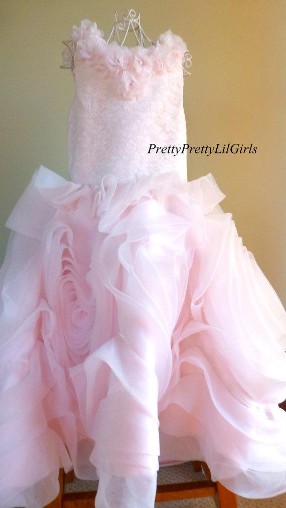 Girls Flower Dress, Flower Girl Dress, Girls Couture Dress, Rosette Dress, Pink Dress, Girls Formal Dress