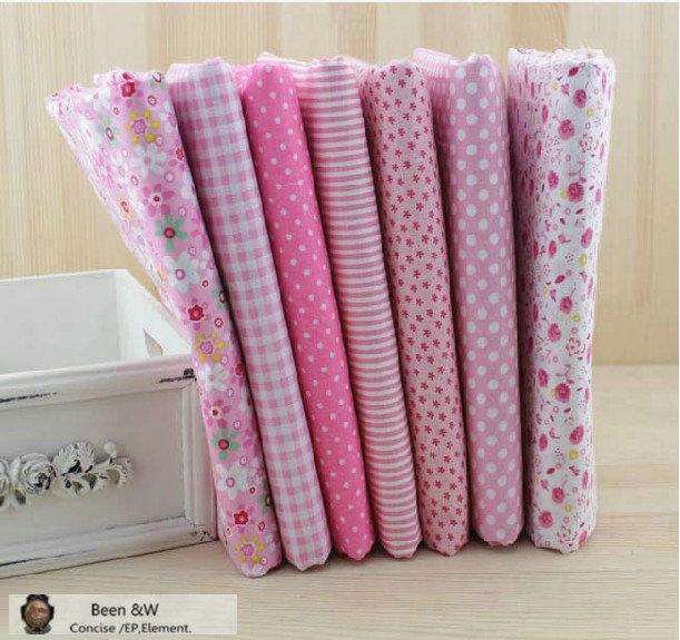 7 стиль розовый серии группа ткани, Ручной работы DIY лоскутная, Ткань ткани, Dot / сетка / полоса / 50 X 50 см бесплатная доставка