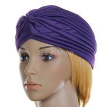 Free Shipping Polyester Pleated Turban Head Wrap Headwrap Cap Twist Hat - Purple(China (Mainland))