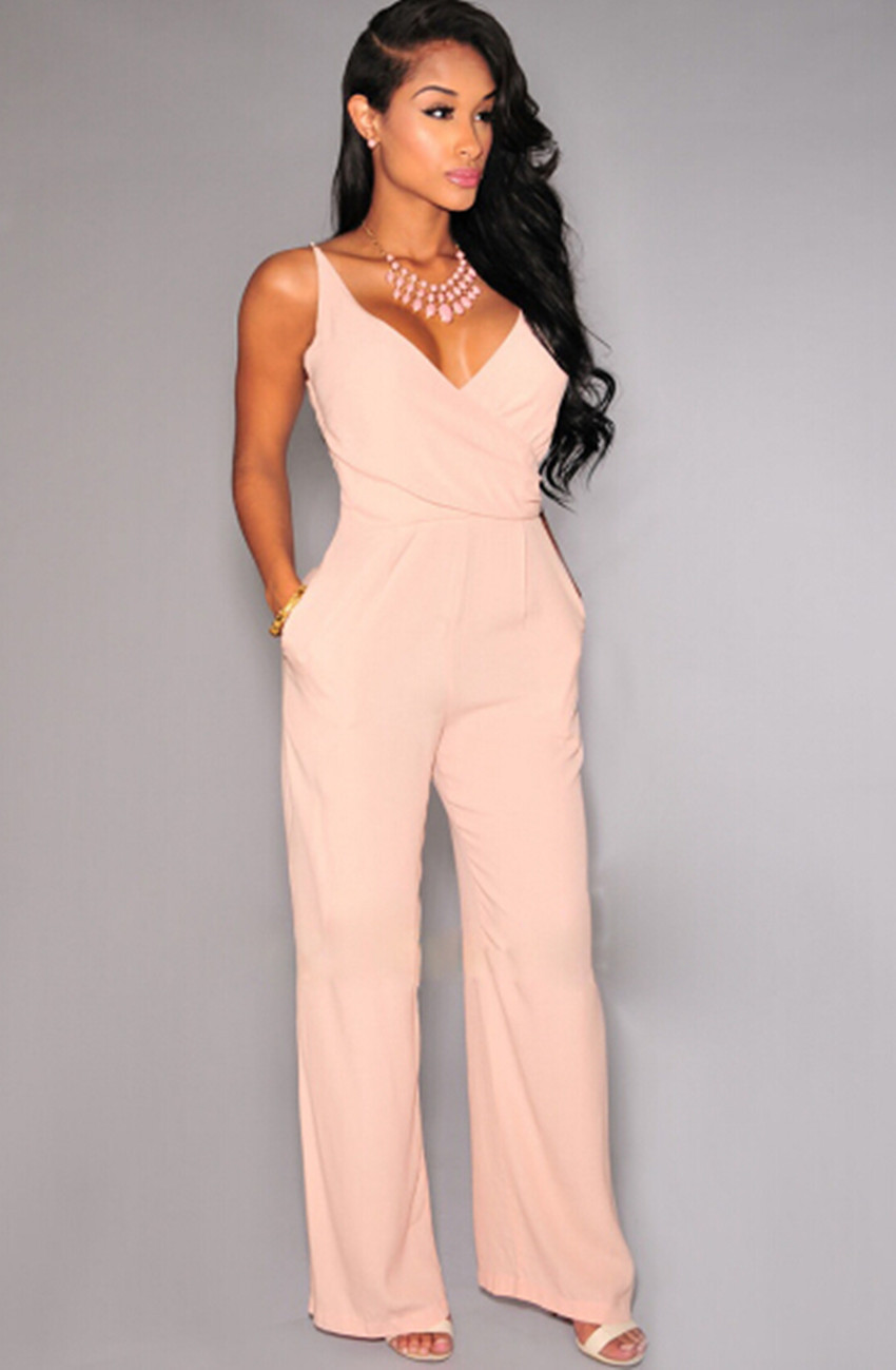 f59253a11819 Popular Plus Size Rompers Womens Jumpsuit Sleeveless O Neck Slim Bodycon  Jumpsuit Beach Coveralls Harem .