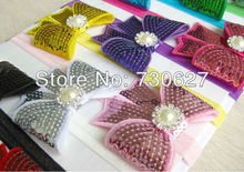 Buy 2017 wholesale newborn flowers headbands boutique sequin hair bow hairbow rhinestone pearl Hair Accessories 100pcs/lot for $89.80 in AliExpress store