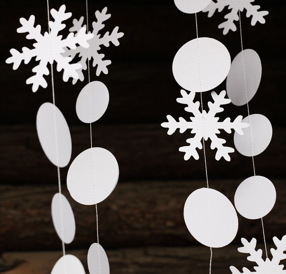 10pcs Sparkly Snowflake Garland, Christmas Decor, Holiday Decor, Winter Mantle Decor, Snowflake Party Banner, Baby Shower(China (Mainland))