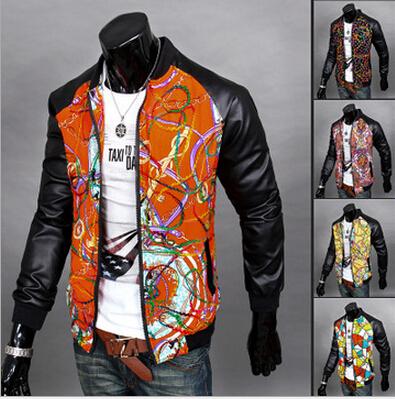 2015 Spring New Hot Sales Korean Fashion Outdoor mens jackets and coats Slim Style Full Printing Sleeve Mens Jackets And Coats(China (Mainland))