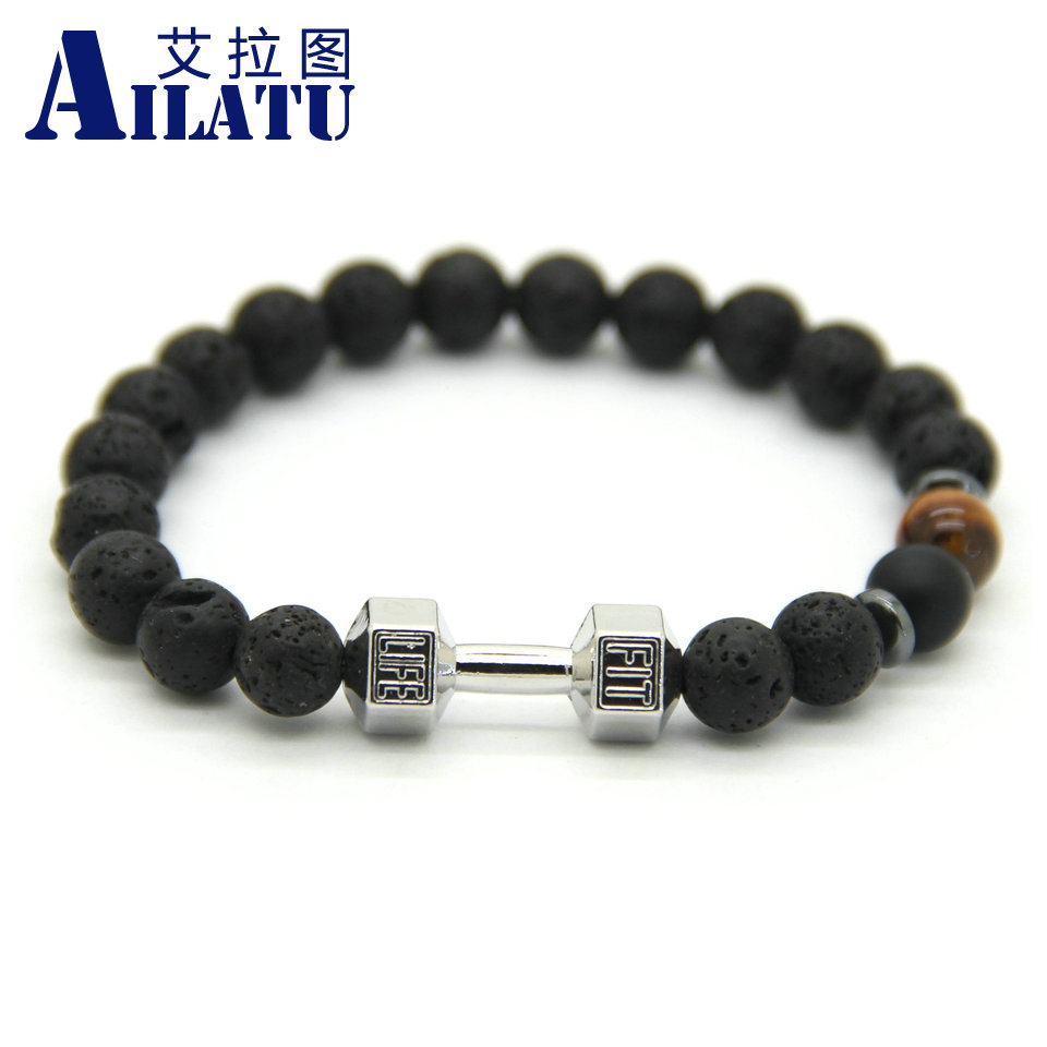 New Arrival Men Barbell Jewelry Retail 8mm Lava Rock Stone Beads Energy Fitness Fashion Dumbbell Bracelets(China (Mainland))