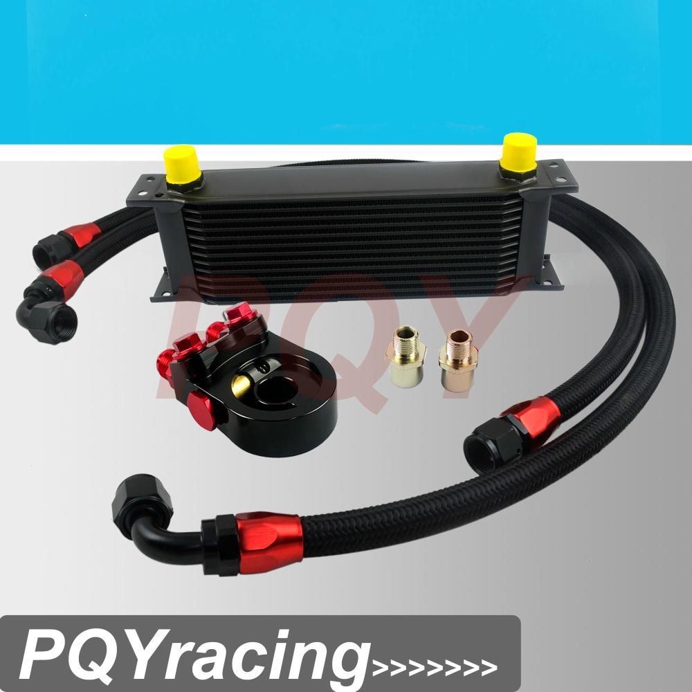 J2 Universal 13ROWS OIL COOLER ENGINE KIT AN10 oil Sandwich Plate Adapte with Thermostat 2PCS NYLON