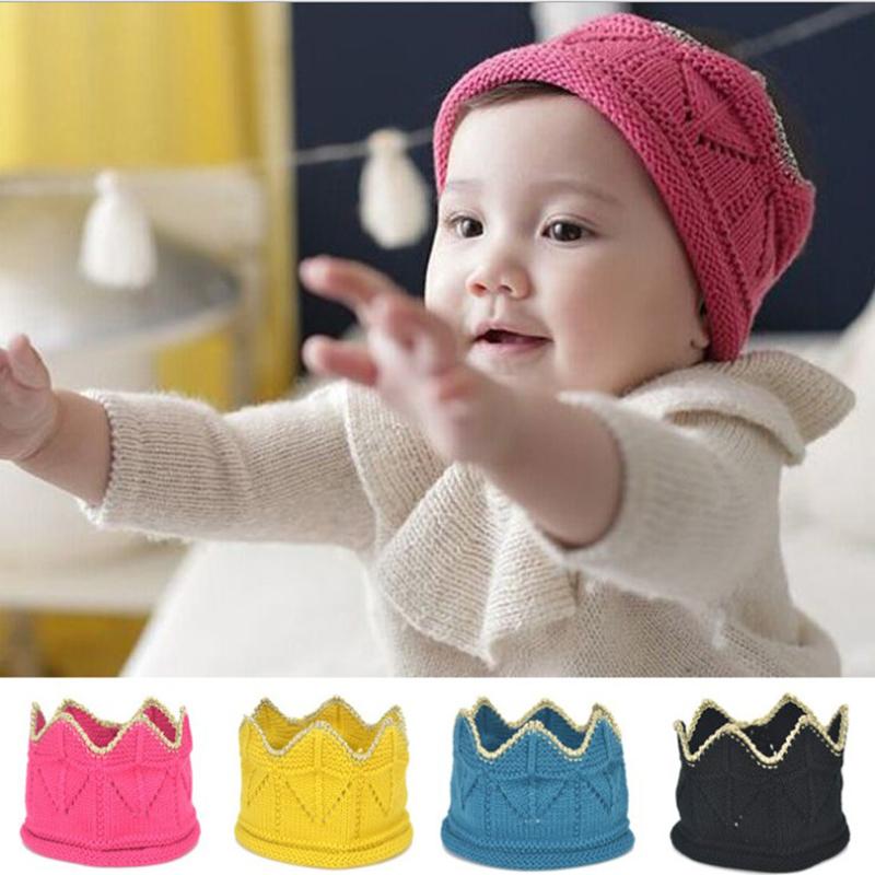 Baby Girl Hat Infant Headband Crown Baby Boy Hat Knitting Crochet Costume Soft Newborns Photography Props Baby Photo Hat Cap(China (Mainland))