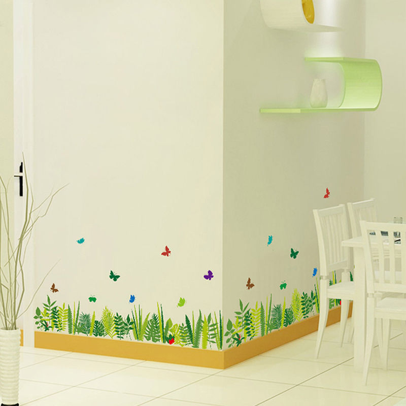 Grass butterfly wall stickers removable vinyl decal mural for Butterfly mural wallpaper