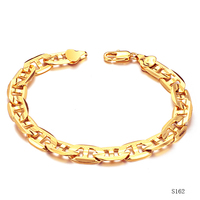"""Gold Filled Chain Bracelet Mens Jewelry 18K Yellow Gold Plated Copper Bracelets Engraved Flat Marine Chain 22cm 8.7"""" Inch Long"""