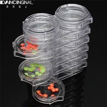 Pro 1pcs 6 Layers Nail Art Accessories Pot Bottle Tips Gems Rhinestone Storage Clear Plastic Case Nail Decoration Holder Tool(China (Mainland))
