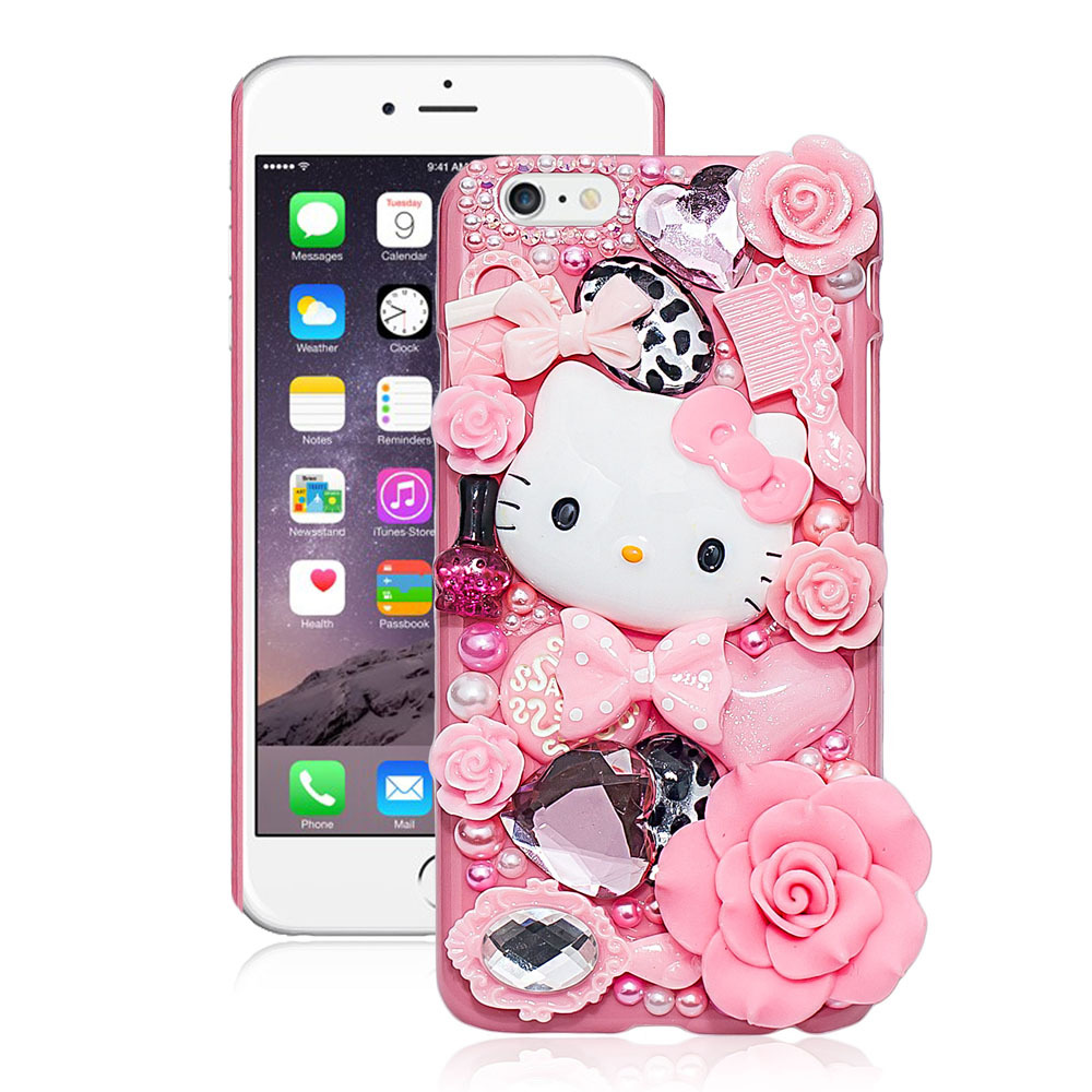 Hot Cute Fashion Hello Kitty Pearl Crystal Plastic Case For iPhone 6 4.7 inch Hard Cover Phone Cases For apple iphone 6 Case(China (Mainland))