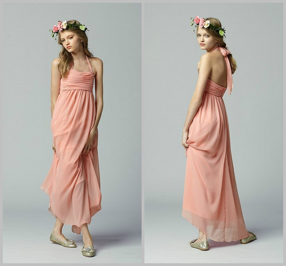 Halter coral chiffon bohemia style bridesmaid dress for for Coral bridesmaid dresses for beach wedding
