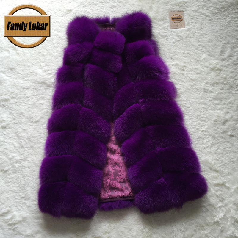 Silver Real Fox Fur New 2015 Fashion Whole Skin Vest Long Women Winter Jacket Genuine Natural Vests Female Mex - Fandy Lokar store