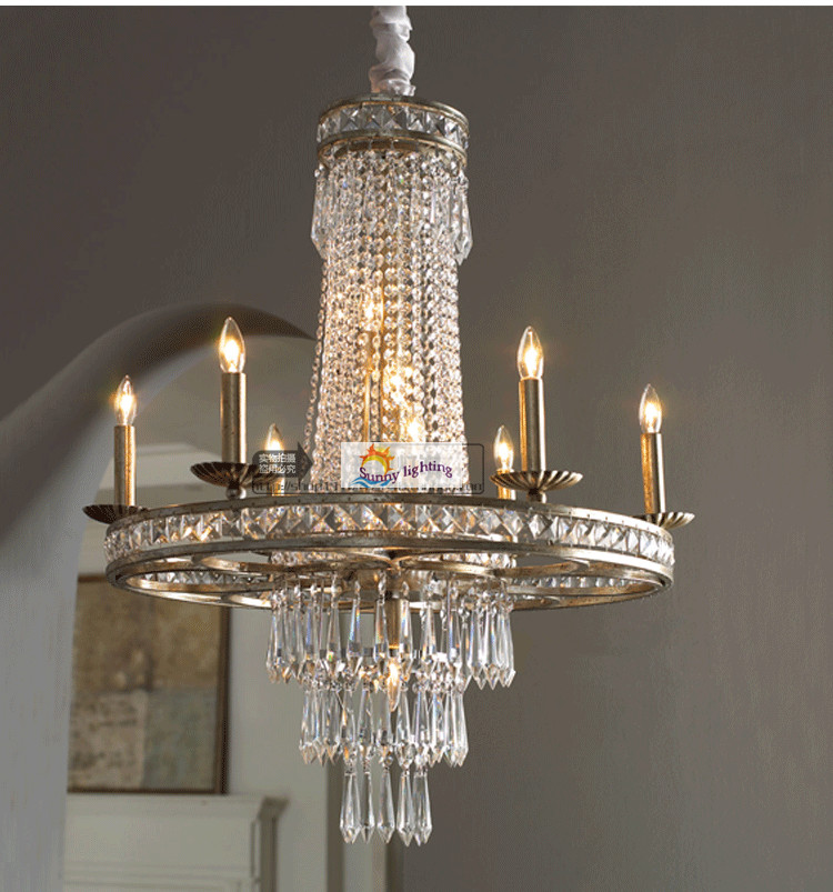 Coffee shop Bar New Crystal Led chandeliers lustres de sala Kitchen 110-240V Traditional vintage iron + crystal Chandelier(China (Mainland))