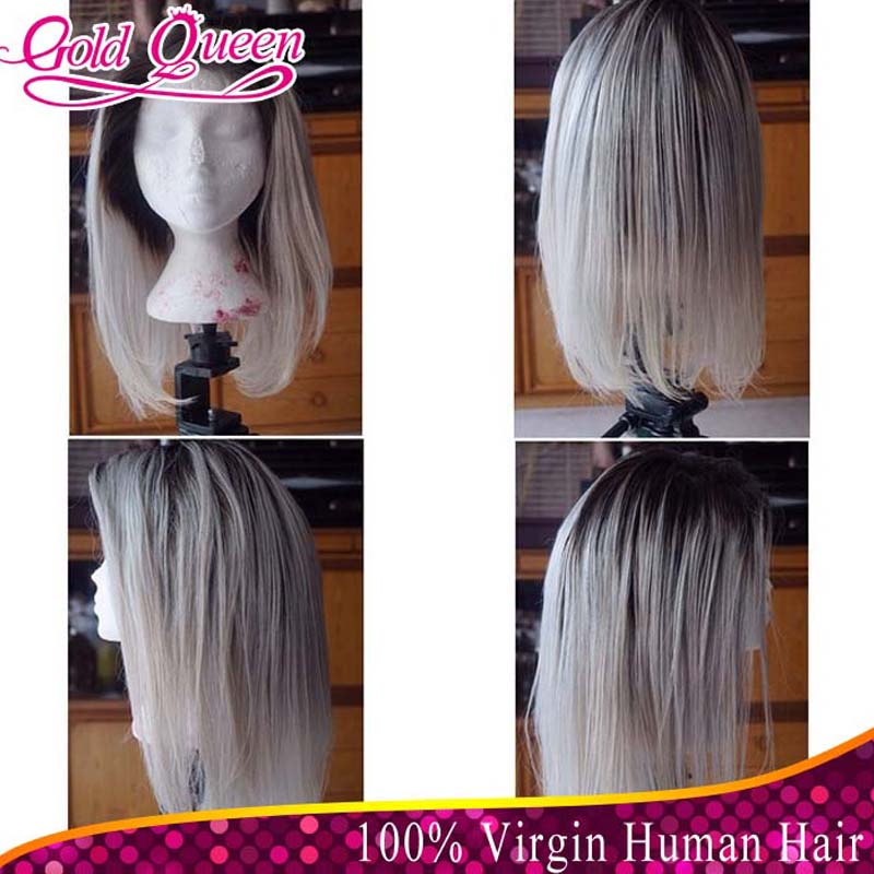 hot new products for 2015 1b#T60# platinum blonde lace front wigs two tone color peruvian virgin hair 130% dnesity bob hair wig<br>