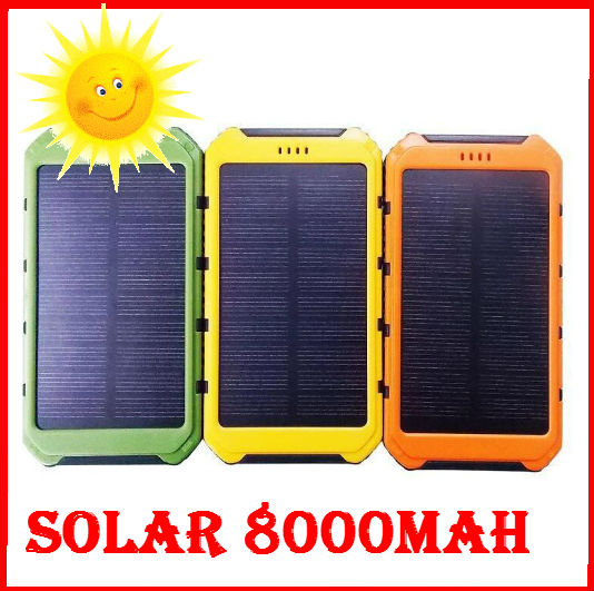 8000mah Portable Waterproof solar power bank Dual-USB Solar Battery Charger for Cell Phone external battery solar power bank(China (Mainland))