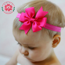 1PCS Grosgrain Ribbon Bow Flower Headbands Solid Color Girl Elastic Hair Bands Kids Hair Tie Hair Accessories 567(China (Mainland))