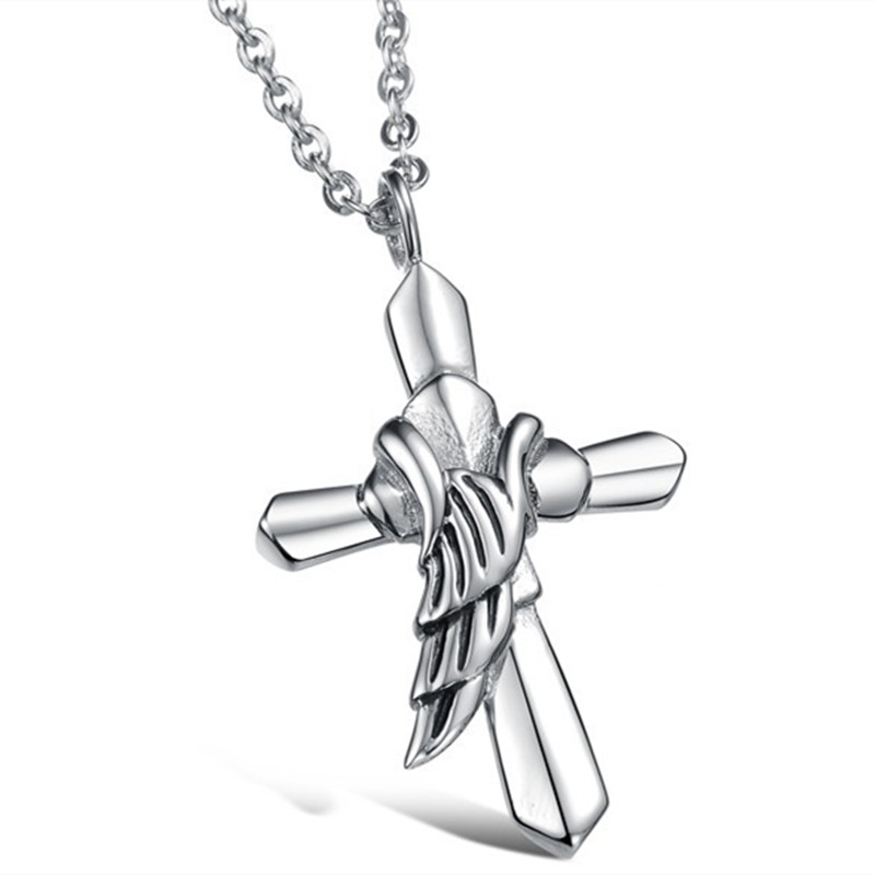Hot New Cross Pendent - Titanium Stainless Steel Retro Vintage Cross Wing Silver Pendent Necklace Chain For Women(China (Mainland))